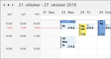 Kalender med tre tidszoner