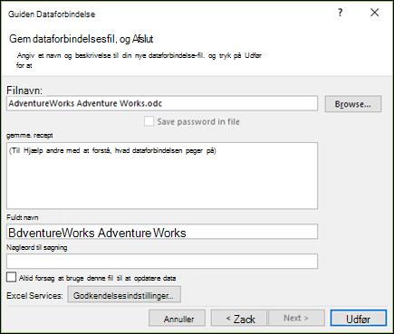 Guiden Dataforbindelse > Gem dataforbindelsesfil og Afslut