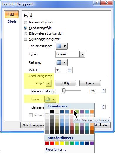 Hvis du ønsker et brugerdefineret, gradueret farveskema, skal du vælge et gradueringsstop og derefter åbne Farveindstillingerne.