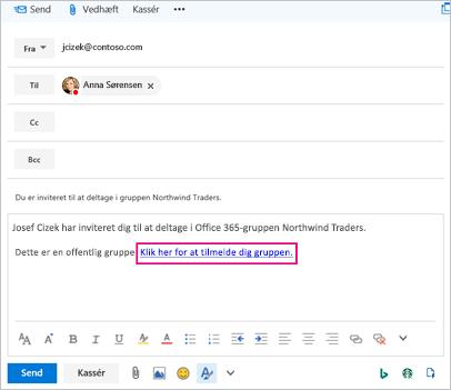 Mail med linket inviterer bruger til at deltage i gruppe