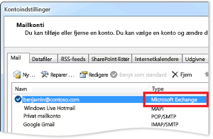 Et eksempel på en Exchange-konto i dialogboksen Kontoindstillinger