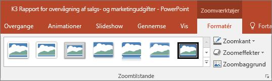 Viser forskellige Zoomtilstande og effekter, du kan vælge under fanen Format i PowerPoint.