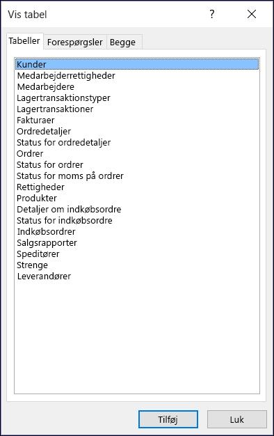 Dialogboksen Vis tabel i Access viser tabelnavne