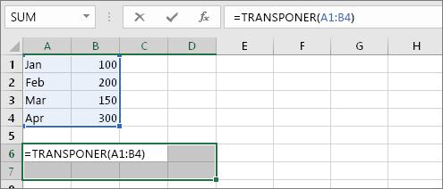 =TRANSPONER(A1:B4)
