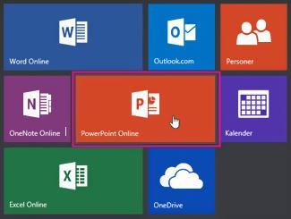 Klik på feltet PowerPoint Online