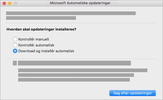 Microsoft Automatiske opdateringer til Mac