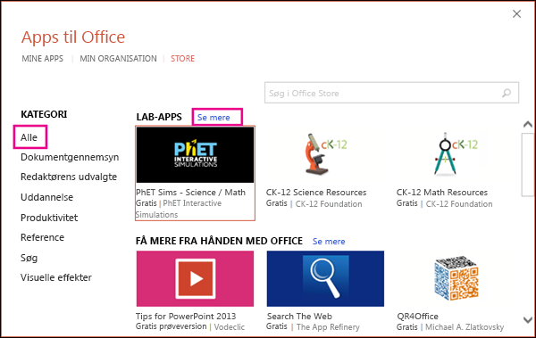 Dialogboksen Office-tilføjelsesprogrammer med Alle og linket til at se flere fremhævet