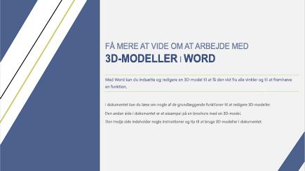 Skærmbillede af forsiden på en 3D-skabelon til Word