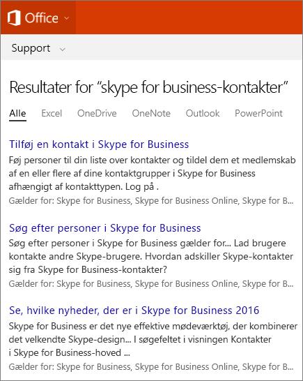 Skærmbillede af resultaterne af en søgning i Skype For Business-kontakter på Office Supportsiden.