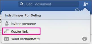Hvis du vil kopiere et link til dokumentet til cilpboard, skal du klikke på Kopier Link.