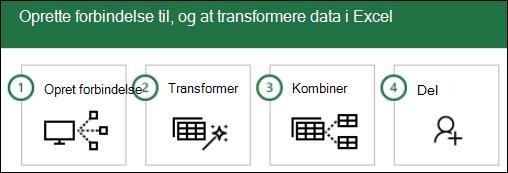 Power Query-trin: 1) oprette forbindelse, 2) transformere, 3) kombinerer, del 4)