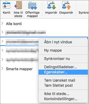 Viser genvejsmenuen for en Exchange-mappe med egenskaber er markeret