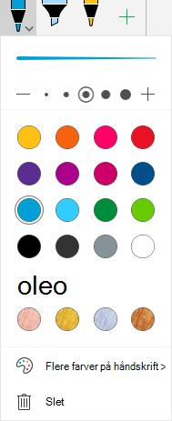 Håndskrift farver og effekter til tegning med håndskrift i Office på Windows Mobile