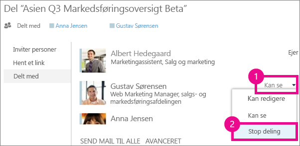 Kommandoen Stop deling i vinduet Deling i OneDrive for Business