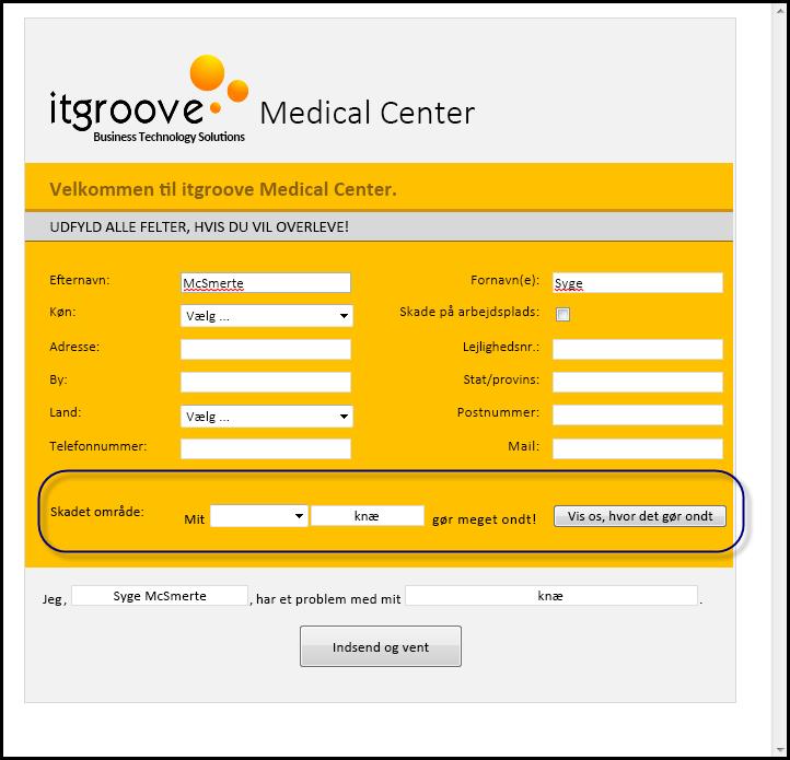 IT Groove Medical Center- skadet område