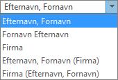 Indstillinger for Personer i Outlook, der viser indstillingerne for rækkefølgen på listen Arkivér som.