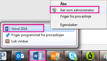 Højreklik på ikonet for Word, og højreklik derefter på Word igen for at køre programmet som administrator.