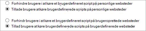 Tillade indstillinger i brugerdefineret Script