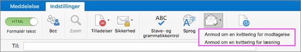 Få meddelelser om levering af mail.