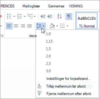 Skærmen linje og afstand mellem afsnit