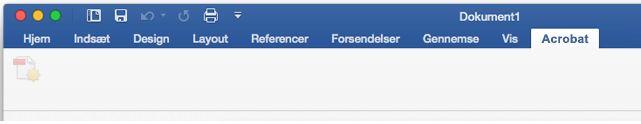 """Knappen """"Opret PDF"""" er deaktiveret i tilføjelsesprogrammet Acrobat PDFMaker"""