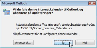 Internetkalender, der tilføjes i Outlook-dialogboks