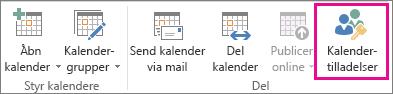 Knappen Kalendertilladelser på fanen Startside i Outlook 2013
