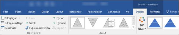 Fanerne SmartArt-værktøjer, Design og Format
