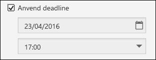Anvend deadlineindstillinger for formularer og prøver