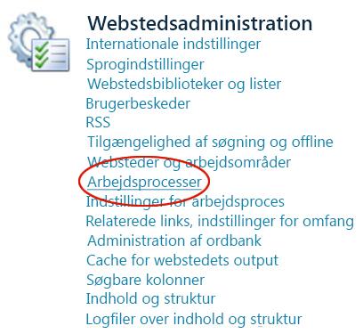 Linket Arbejdsprocesser under overskriften Webstedsadministration