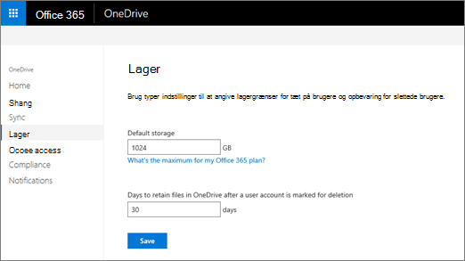Fanen lagerplads på OneDrive-administration