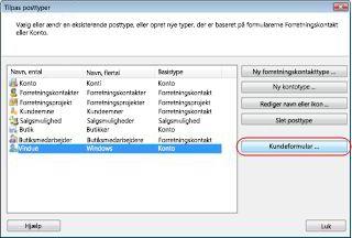 Dialogboksen Tilpas posttyper i databasen Eksempelforretning med posttypen Leverandør.