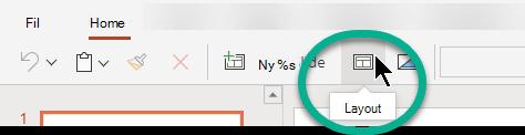 Knappen layout under fanen hjem i PowerPoint til internettet.