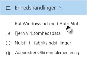 På kortet Enhedshandlinger skal du vælge Installer Windows med Autopilot.