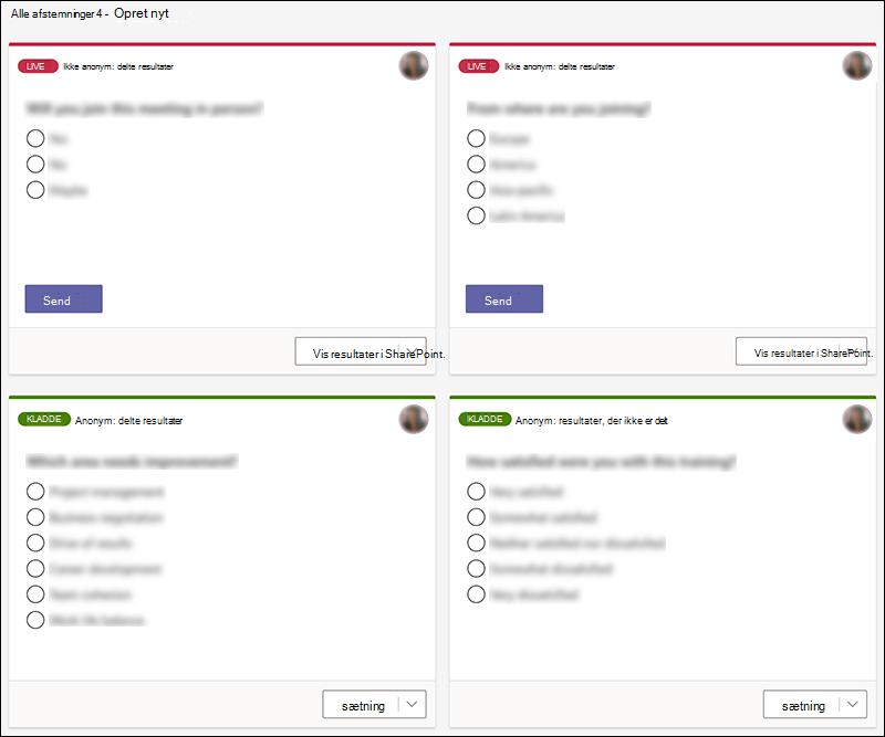 Microsoft Forms-afstemninger, der er oprettet i Teams i forskellige stater, f.eks. live og kladder