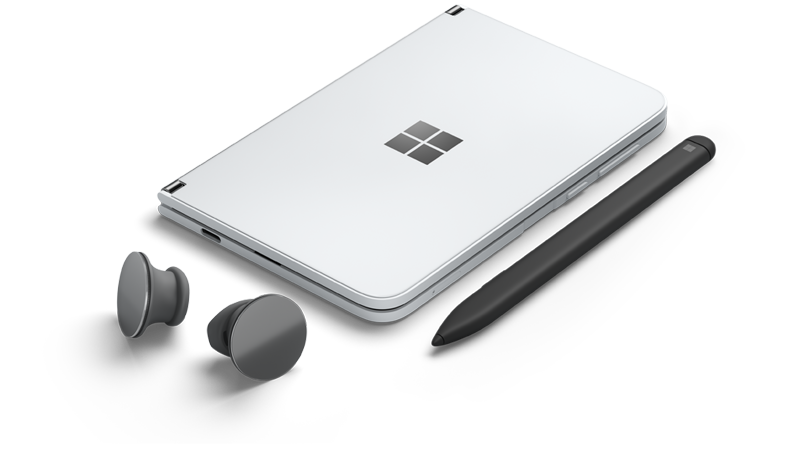 Surface Duo med Surface Earbuds og Surface Duo Slim Pen.