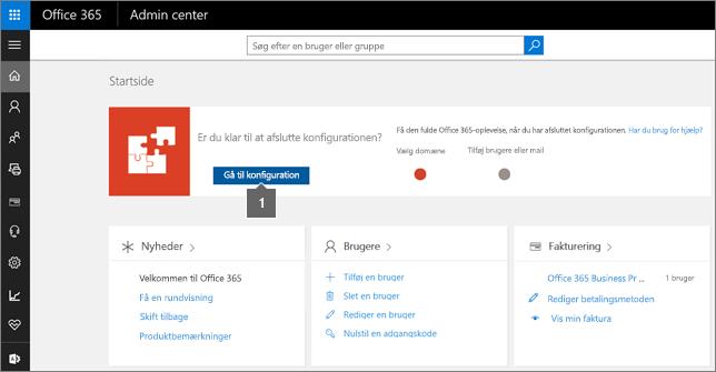 Klik på Konfiguration på siden Admin i Office 365