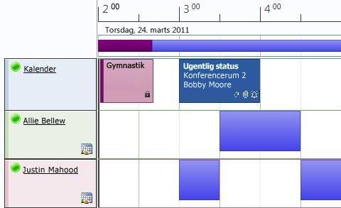 Planlægningsvisning af kalendere