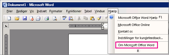 Hjælp > Om Microsoft Office Word i Word 2003