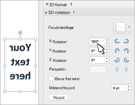 WordArt med en rotation på 180 grader