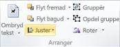 Gruppen Arranger til justering af objekter i Publisher 2010