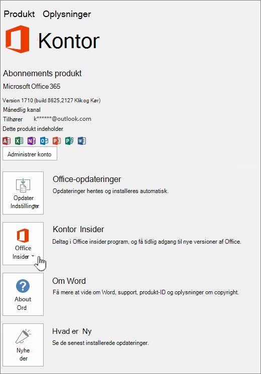 Office insider ind-app-tilmelding.