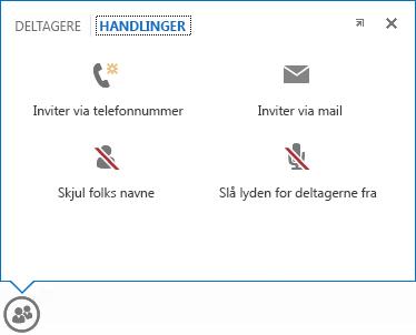 Skærmbillede af den menu, der vises, når du peger på knappen Personer, og hvor fanen Handlinger er valgt