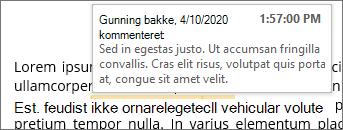 Indbygget kommentar med skærmtip