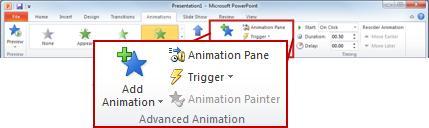 Gruppen Avanceret animation under fanen Animationer.