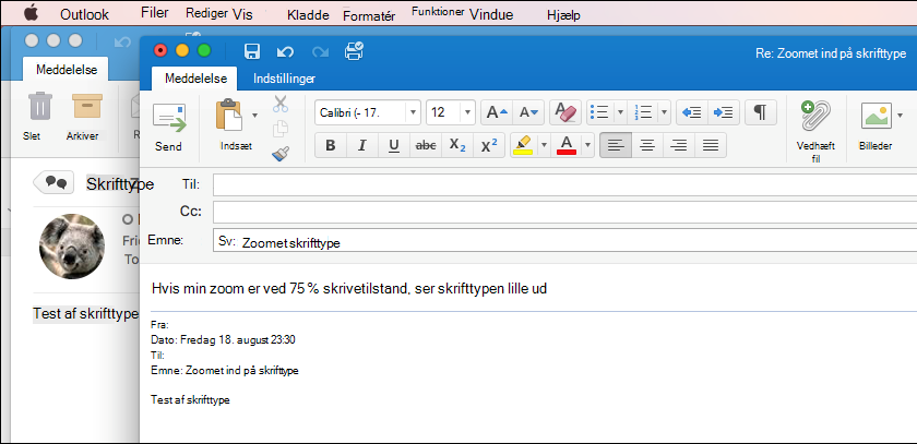 Skriftstørrelse i Outlook til Mac
