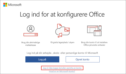 Det viser linket, som du skal klikke på for at angive din Microsoft HUP-produktnøgle
