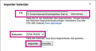 Google Calendar – dialogboksen Importér kalender