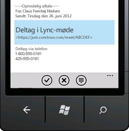 Skærmbillede, viser Deltag i et Lync-møde fra din mobilenhed