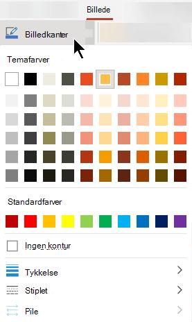 Menuen billed kanter indeholder indstillinger for farve, tykkelse og stregtype.